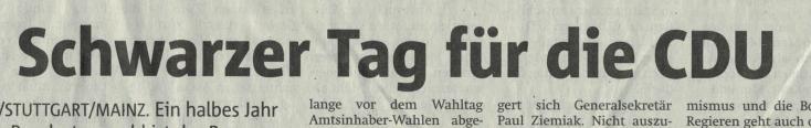 Schlagzeile nach Landtagswahlen