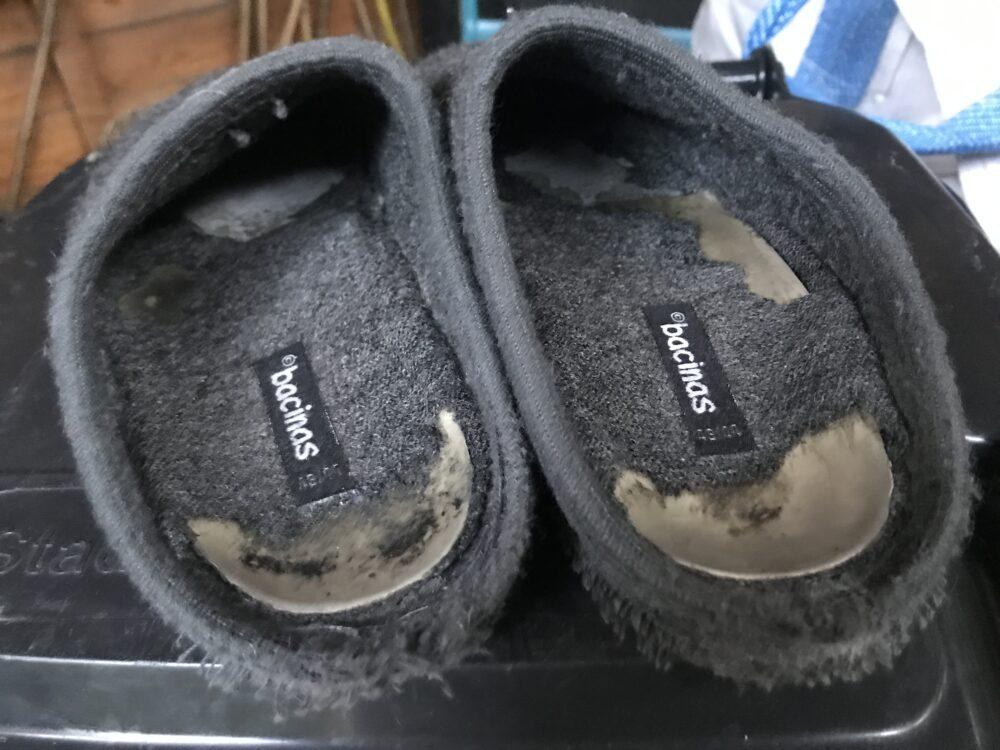 Entsorung der alten Pantoffeln