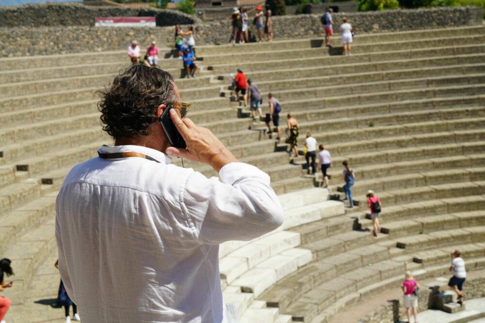 Pompeji Handy-man im Amphitheater