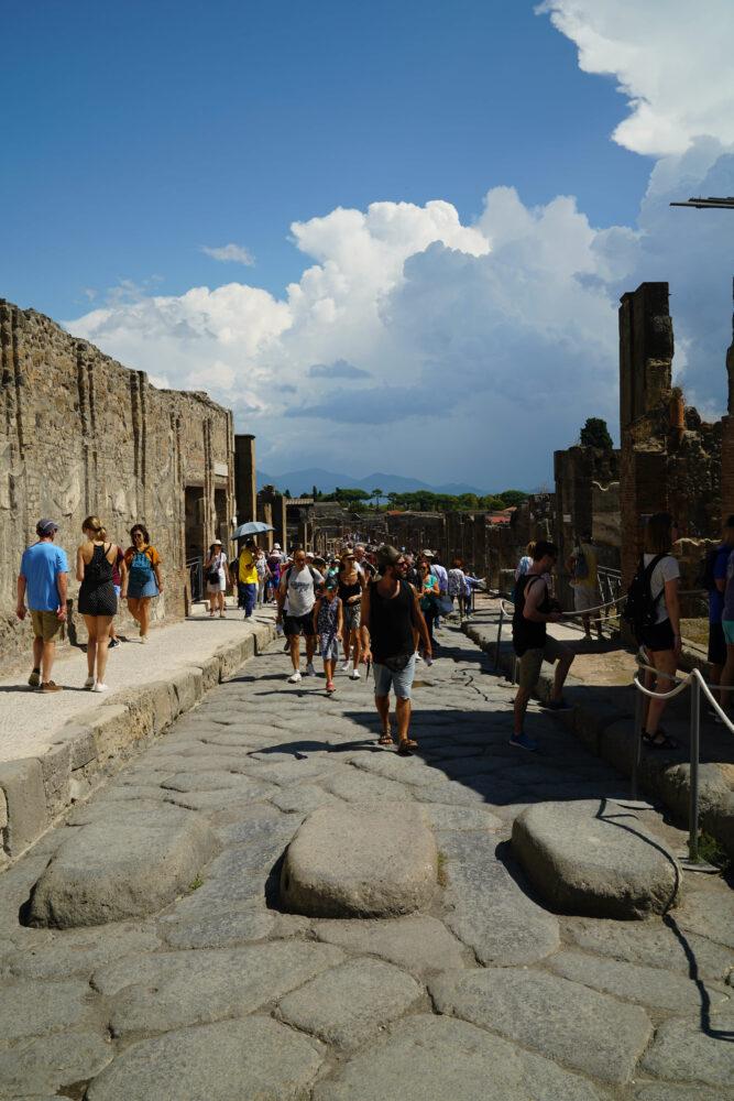 Pompeji Steinblöcke auf der Straße