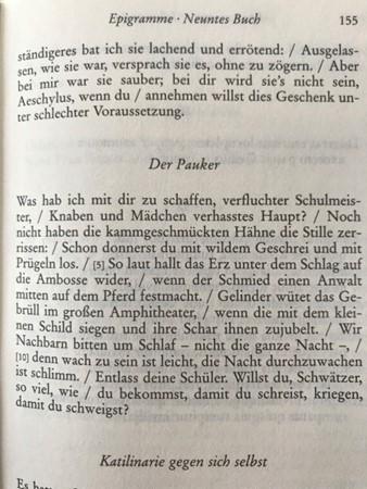 Auszug aus Reclam-Bändchen Martial Der Pauker